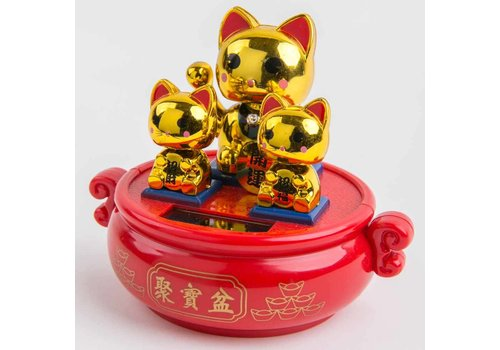 Fine Asianliving Lucky Cat Maneki Neko Solar Energy Gold