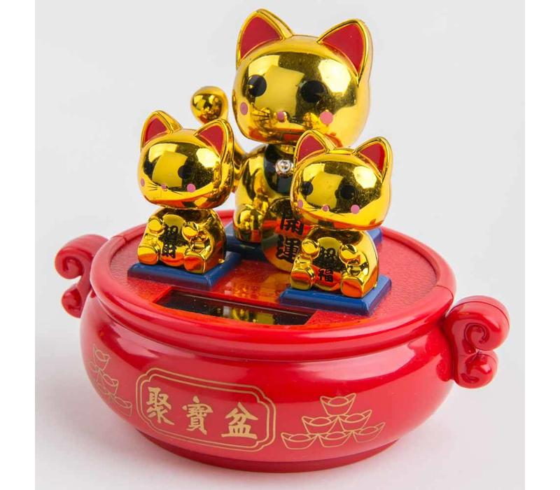 Lucky Cat Maneki Neko Solar Energy Gold