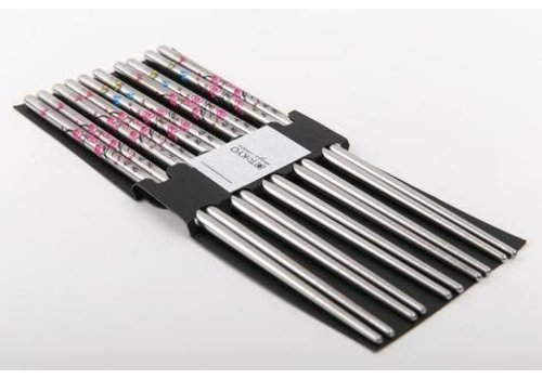 Fine Asianliving Koreaanse Chopsticks Roestvast Staal Set/5 Bloemen