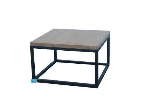 Fine Asianliving Tavolino Cinese Moderno in Legno e Acciaio Nero L65xP65xA40cm