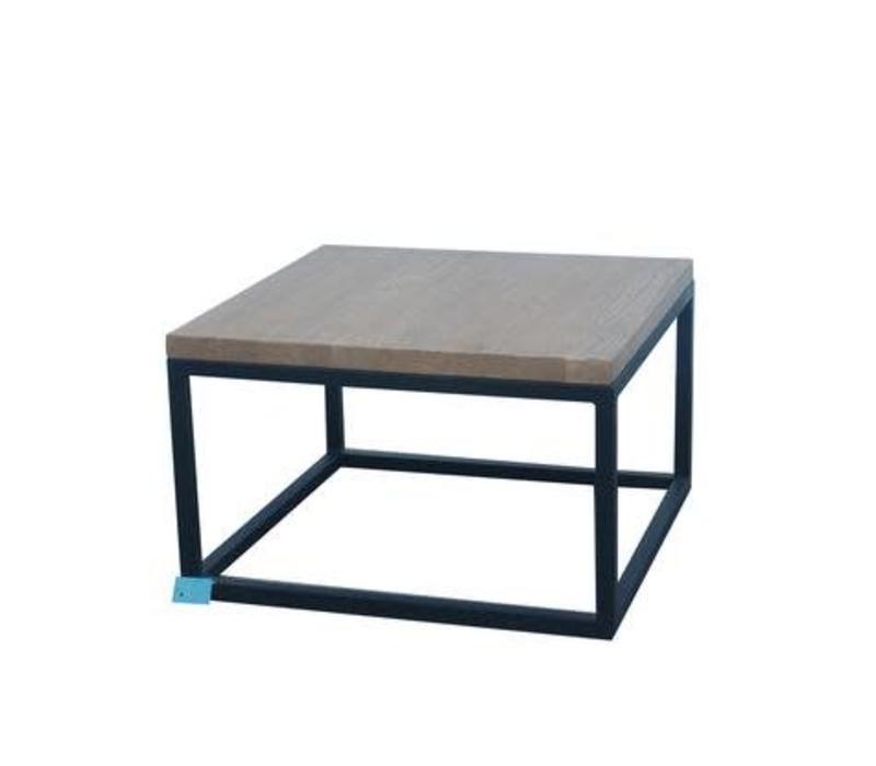 Tavolino Cinese Moderno in Legno e Acciaio Nero L65xP65xA40cm