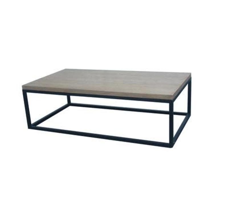 Tavolino Cinese Moderno in Legno e Acciaio L130xP70xA40cm