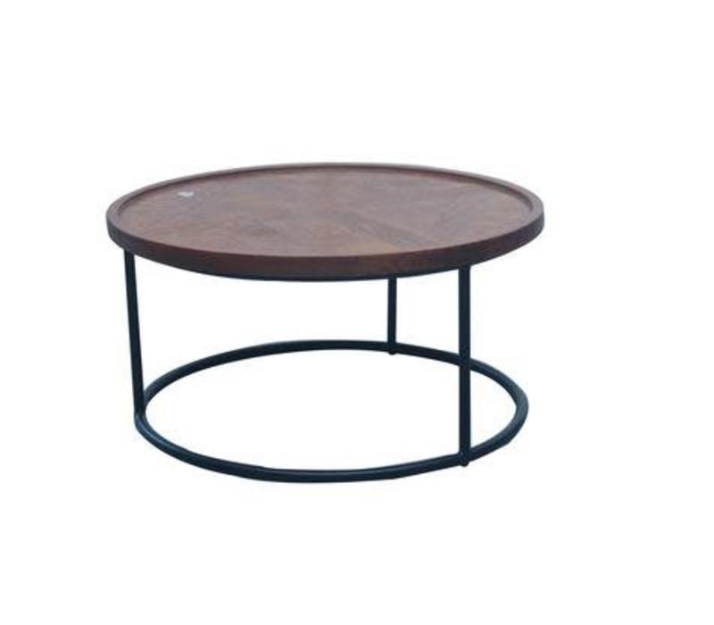 Tavolino Cinese Moderno Rotondo in Legno e Acciaio D80xA40cm