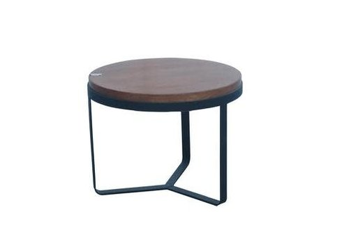 Fine Asianliving Salontafel Rond Hout/Staal donker