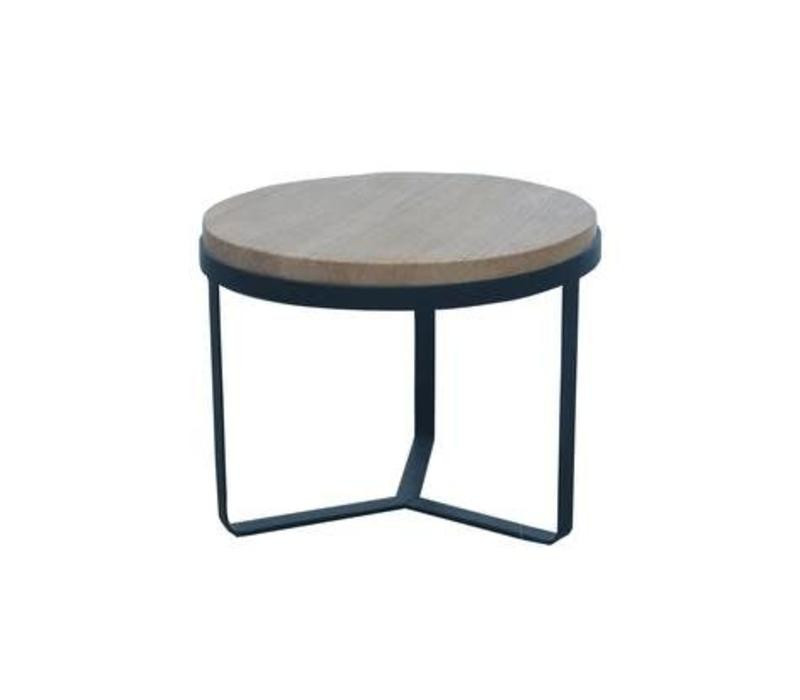 Salontafel Rond Hout/Staal licht
