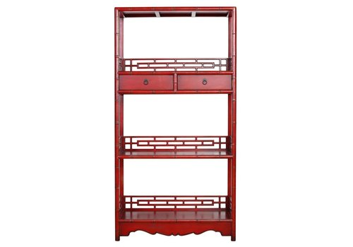 Fine Asianliving Chinese Bookcase with Drawers Hand Carved Red