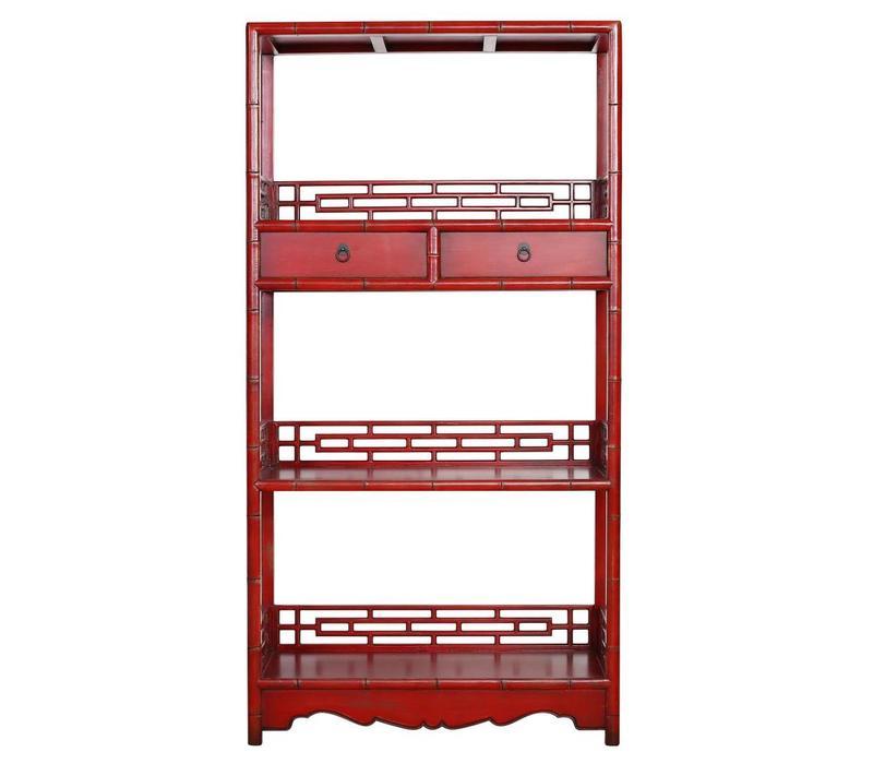 Bibliothèque chinoise avec tiroirs rouge