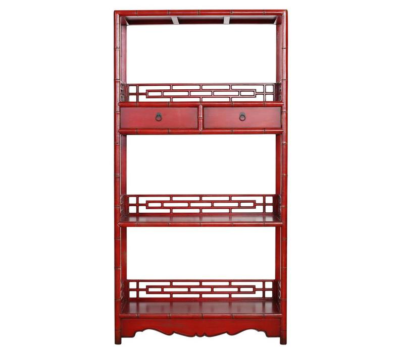 Chinese Bookcase with Drawers Red