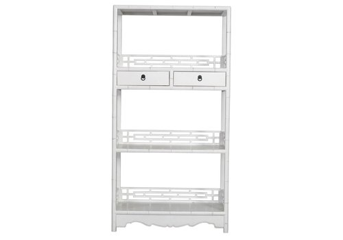 Fine Asianliving Chinese Bookcase with Drawers Handcut White