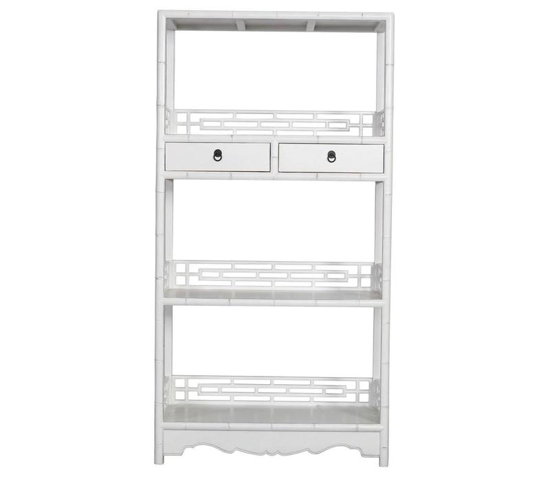 Chinese Bookcase with Drawers White