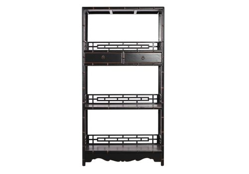 Fine Asianliving Chinese Bookcase with Drawers Handcut Black