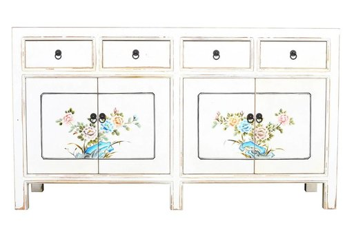 Fine Asianliving Chinees Dressoir Wit Handgeschilderde Bloemen B154xD45xH87cm