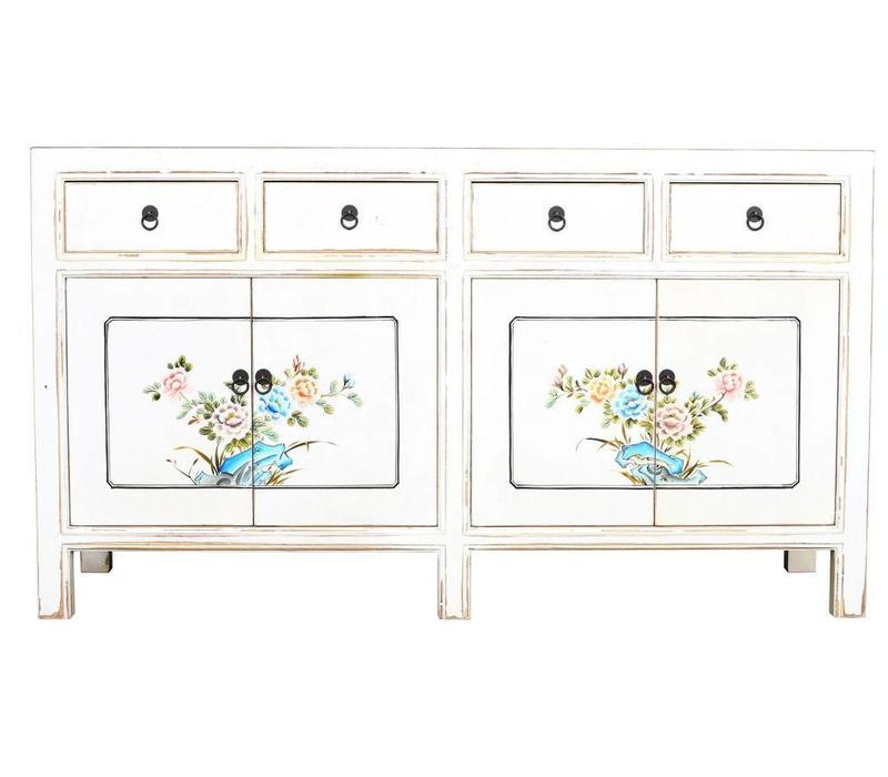 Chinees Dressoir Wit Handgeschilderde Bloemen B154xD45xH87cm