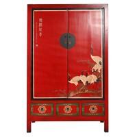 Antieke Chinese Bruidskast Handbeschilderde Kraanvogels Rood