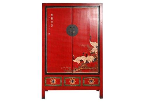 Fine Asianliving Antieke Chinese Bruidskast Rood Handgeschilderde Kraanvogels