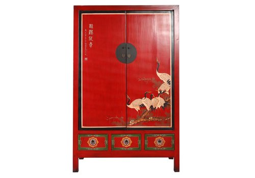 Fine Asianliving Antique Chinese Bridal Cabinet Red Hand Painted Cranes
