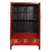 Armadio Nuziale Cinese Antico Fatto a Mano Rosso L101xP56xA190cm