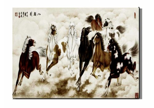 Fine Asianliving Canvas Painting Wall Art Galopperende Paarden 50 x 70 cm