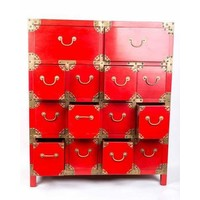 Chinese Cupboard White Drawers Red