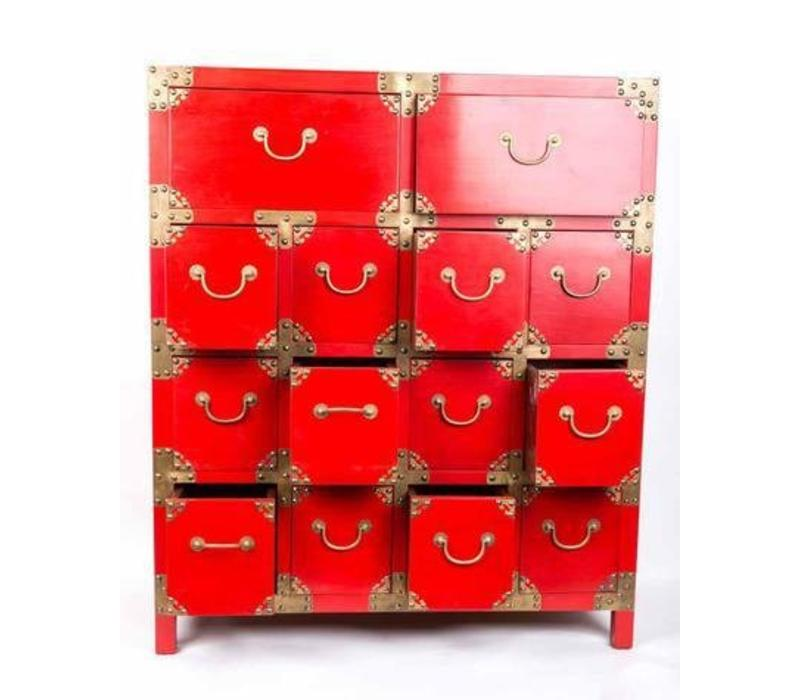 Chinese Cupboard with Drawers Red