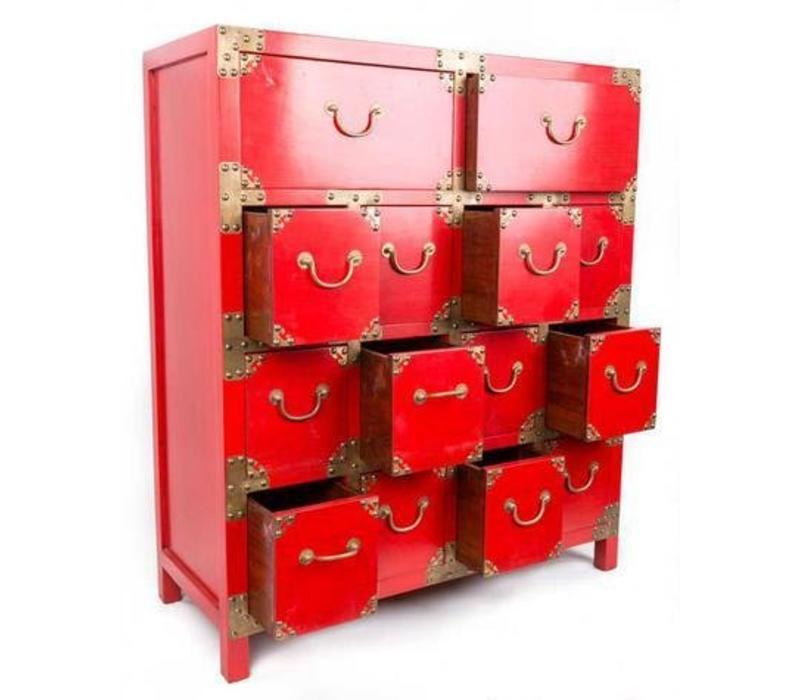 Chinese Kast met Vakjes Rood
