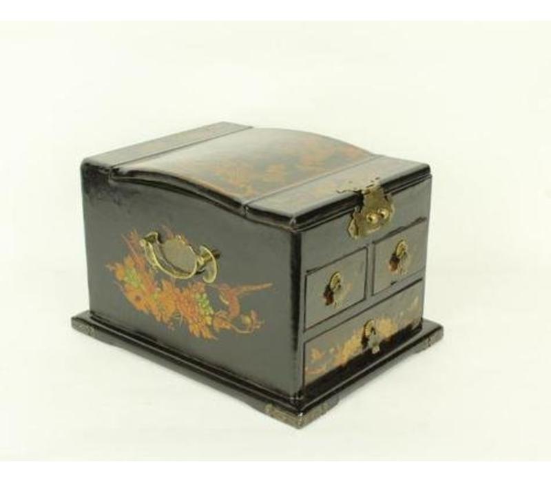 Tibetan mirror jewelery box black