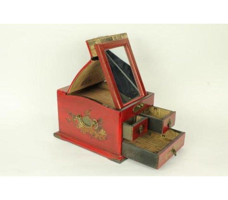 Tibetan mirror jewelery box red