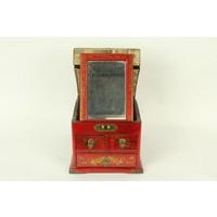 Tibetaanse Spiegel Sieradendoos Rood
