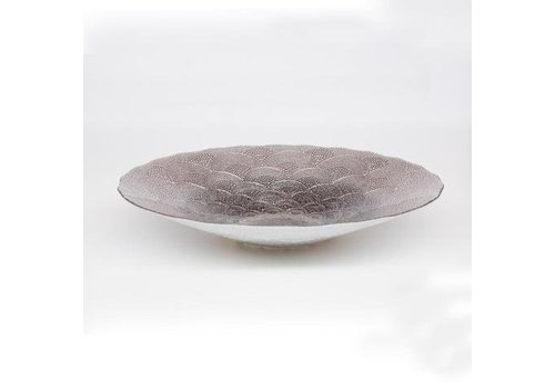 Fine Asianliving Glass plate White Chinese fan pattern mushroom
