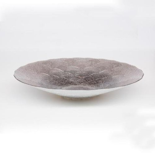 Glass plate White Chinese fan pattern mushroom