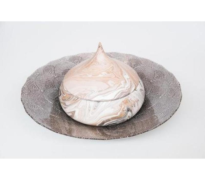Glass plate White Chinese fan pattern mushroom