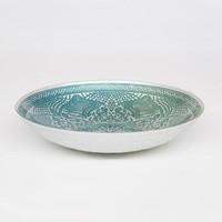 Glass bowl White Chinese fan pattern waterlily