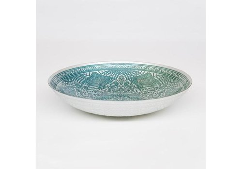 Fine Asianliving Glass bowl White Chinese fan pattern waterlily