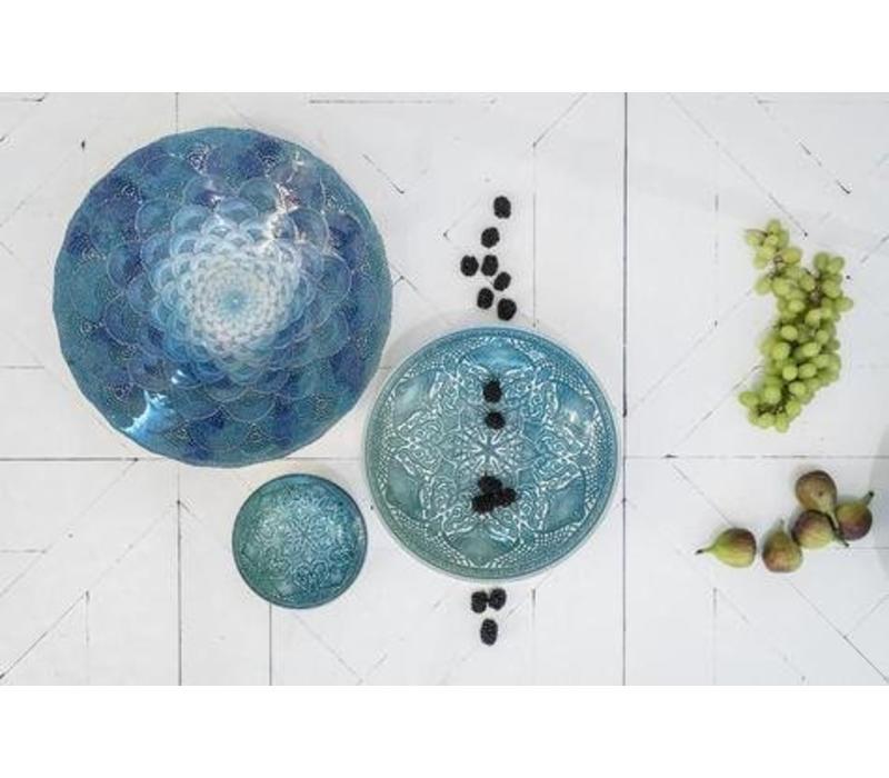 Glazen Schaal met Waaierpatroon Waterlily