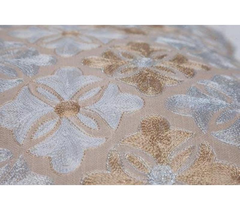 Kussen Bloementegels Goud 45 x 45 cm