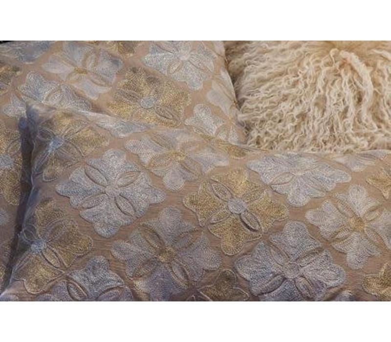 Coussin Doré Fleurs 45x45 cm