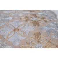 Cushion flower tiles oblong gold 30 x 50 cm