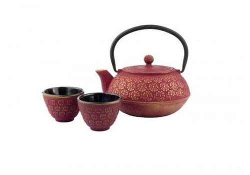 Fine Asianliving Gietijzeren Thee Set Giftset Shanghai Roze/Goud
