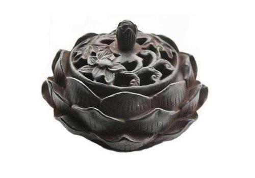 Fine Asianliving Wierookhouder Kegelbrander Lotus Zwart