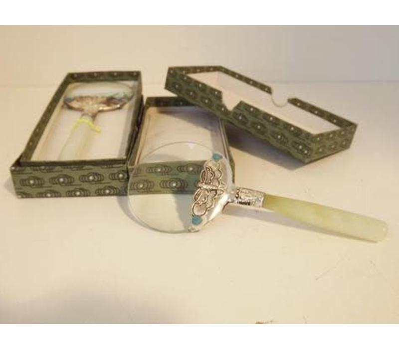 Loupe Magnifying glass Edited White Jade Handle 14.5 cm