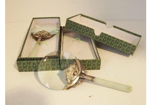 Fine Asianliving Loupe Vergrootglas Bewerkt met Jade Handvat 17.5 cm