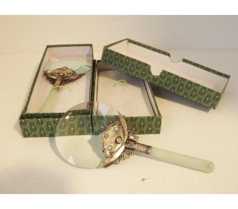 Loupe Vergrootglas Bewerkt met Jade Handvat 17.5 cm
