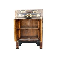 Chinese Cabinet Hand Painted Butterflies Black Large