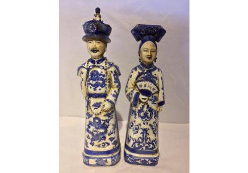 Fine Asianliving Chinese Keizer en Keizerin Porselein Set/2 Blauw Wit Handgemaakt