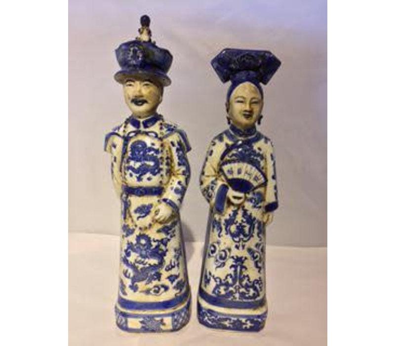 Chinese Keizer en Keizerin Porselein Set/2 Blauw Wit Handgemaakt