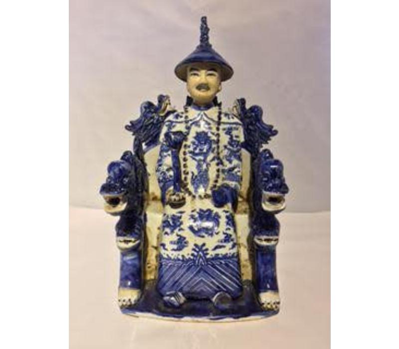 Chinese Emperor Dragon Handmade Porcelain Blue/White