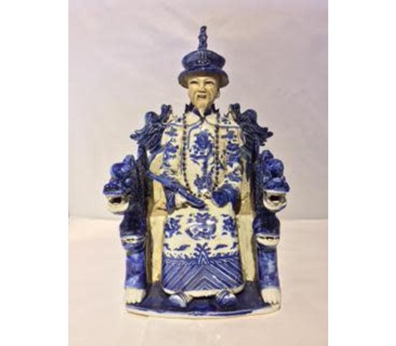 Chinese Keizer Draak Handgemaakt Porselein Blauw/Wit