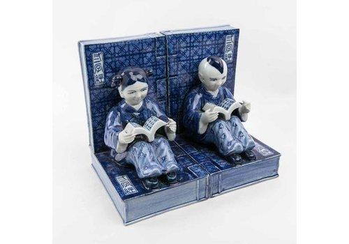 Fine Asianliving Boekensteun Chinese Kinderen Porselein Blauw-wit