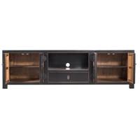 Chinese TV-meubel Met Ingevlochten Bamboe Zwart W190xD56xH56cm