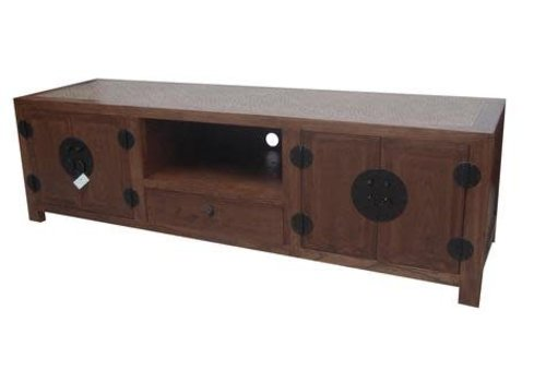 Fine Asianliving Chinese TV Dresser White Braided Bamboo Brown